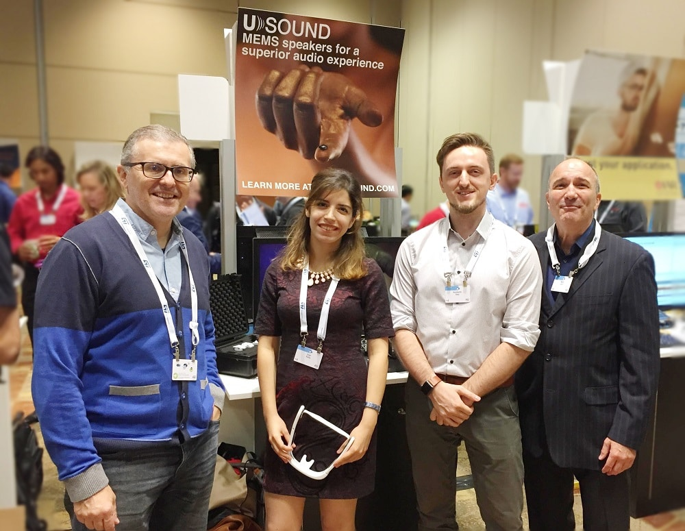 Ferruccio Bottoni, Özge Kolay, Konstantin Davy and Mark Laich representing USound at an event.
